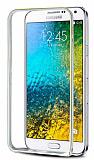Eiroo Samsung Galaxy E7 Gold Çizgili Round Metal Bumper Çerçeve Silver Kılıf