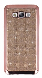 Eiroo Samsung Galaxy E7 Taşlı Rose Gold Silikon Kılıf