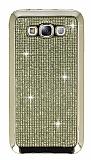 Eiroo Samsung Galaxy E7 Taşlı Gold Silikon Kılıf