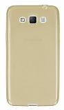 Samsung Galaxy Grand Max Ultra İnce Şeffaf Gold Silikon Kılıf