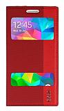 Eiroo Samsung Galaxy Grand Prime/ Prime Plus Gizli Mıknatıslı Çift Pencereli Kırmızı Kılıf