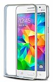 Eiroo Samsung Galaxy Grand Prime / Prime Plus Gold Çizgili Round Metal Bumper Çerçeve Silver Kılıf