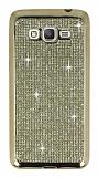 Eiroo Samsung Galaxy Grand Prime / Prime Plus Taşlı Gold Silikon Kılıf
