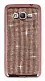 Eiroo Samsung Galaxy Grand Prime / Prime Plus Taşlı Rose Gold Silikon Kılıf
