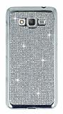 Eiroo Samsung Galaxy Grand Prime / Prime Plus Taşlı Silver Silikon Kılıf