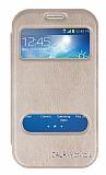 Eiroo Samsung Galaxy Grand Vantuzlu Çift Pencereli Gold Deri Kılıf