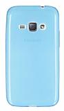 Samsung Galaxy J1 2016 Ultra İnce Şeffaf Mavi Silikon Kılıf