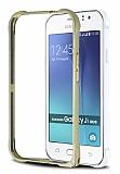 Eiroo Samsung Galaxy J1 Ace Gold Çizgili Metal Bumper Çerçeve Gold Kılıf