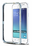 Eiroo Samsung Galaxy J1 Ace Gold Çizgili Metal Bumper Çerçeve Silver Kılıf