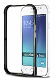 Eiroo Samsung Galaxy J1 Ace Gold Çizgili Metal Bumper Çerçeve Siyah Kılıf