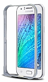 Eiroo Samsung Galaxy J1 Gold Çizgili Metal Bumper Çerçeve Silver Kılıf