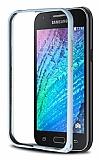 Eiroo Samsung Galaxy J1 Metal Bumper Çerçeve Silver Kılıf