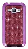 Eiroo Samsung Galaxy J1 Taşlı Pembe Silikon Kılıf