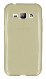 Eiroo Samsung Galaxy J1 Ultra İnce Şeffaf Gold Silikon Kılıf