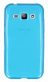 Eiroo Samsung Galaxy J1 Ultra İnce Şeffaf Mavi Silikon Kılıf