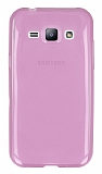 Eiroo Samsung Galaxy J1 Ultra İnce Şeffaf Pembe Silikon Kılıf