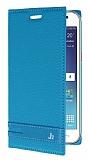Eiroo Phantom Samsung Galaxy J2 Gizli Mıknatıslı Mavi Deri Kılıf