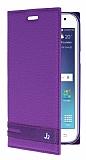 Eiroo Phantom Samsung Galaxy J2 Gizli Mıknatıslı Yan Kapaklı Mor Deri Kılıf