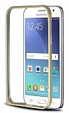 Eiroo Samsung Galaxy J2 Gold �izgili Metal Bumper �er�eve Gold K�l�f