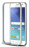 Eiroo Samsung Galaxy J2 Gold �izgili Metal Bumper �er�eve Silver K�l�f