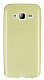 Samsung Galaxy J3 2016 Ultra İnce Şeffaf Gold Silikon Kılıf