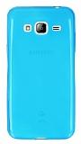 Samsung Galaxy J3 2016 Ultra İnce Şeffaf Mavi Silikon Kılıf