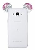 Eiroo Samsung Galaxy J5 2016 Taşlı Kulaklı Pembe Silikon Kılıf