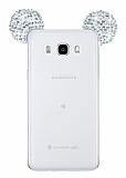 Eiroo Samsung Galaxy J5 2016 Taşlı Kulaklı Silver Silikon Kılıf