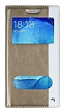 Samsung Galaxy J7 Gizli Mıknatıslı Çift Pencereli Gold Deri Kılıf