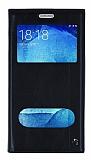 Samsung Galaxy J7 / Galaxy J7 Core Gizli Mıknatıslı Çift Pencereli Siyah Deri Kılıf