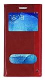 Samsung Galaxy J7 Gizli Mıknatıslı Çift Pencereli Kırmızı Deri Kılıf
