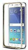 Eiroo Samsung Galaxy J5 Gold Çizgili Gold Metal Bumper Kılıf