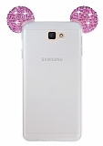 Eiroo Samsung Galaxy J5 Prime Taşlı Kulaklı Pembe Silikon Kılıf