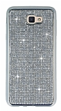 Eiroo Samsung Galaxy J5 Prime Taşlı Silver Silikon Kılıf