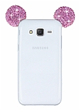 Samsung Galaxy J5 Taşlı Kulaklı Pembe Silikon Kılıf