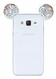 Eiroo Samsung Galaxy J5 Taşlı Kulaklı Gold Silikon Kılıf