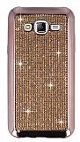 Eiroo Samsung Galaxy J5 Taşlı Rose Gold Silikon Kılıf