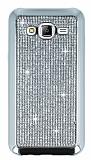 Eiroo Samsung Galaxy J5 Taşlı Silver Silikon Kılıf