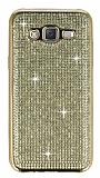 Eiroo Samsung Galaxy J5 Taşlı Gold Silikon Kılıf