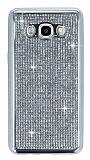 Eiroo Samsung Galaxy J7 2016 Taşlı Silver Silikon Kılıf