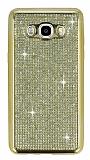 Eiroo Samsung Galaxy J7 2016 Taşlı Gold Silikon Kılıf