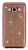 Eiroo Samsung Galaxy J7 2016 Taşlı Rose Gold Silikon Kılıf