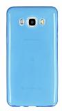 Samsung Galaxy J7 2016 Ultra İnce Şeffaf Mavi Silikon Kılıf