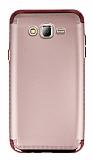 Eiroo Samsung Galaxy J7 3ü 1 Arada Gold Kenarlı Rose Gold Silikon Kılıf