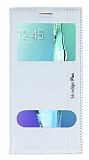 Eiroo Samsung Galaxy S6 Edge Plus Gizli M�knat�sl� �ift Pencereli Beyaz Deri K�l�f
