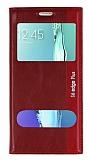 Eiroo Samsung Galaxy S6 Edge Plus Gizli M�knat�sl� �ift Pencereli K�rm�z� Deri K�l�f