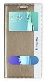 Samsung Galaxy S6 Edge Plus Gizli Mıknatıslı Çift Pencereli Gold Deri Kılıf
