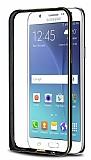 Eiroo Samsung Galaxy J7 / Galaxy J7 Core Gold Çizgili Siyah Metal Bumper Kılıf