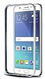 Eiroo Samsung Galaxy J7 / Galaxy J7 Core Gold Çizgili Silver Metal Bumper Kılıf