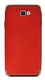 Eiroo Samsung Galaxy J7 Prime 3ü 1 Arada Gold Kenarlı Kırmızı Silikon Kılıf